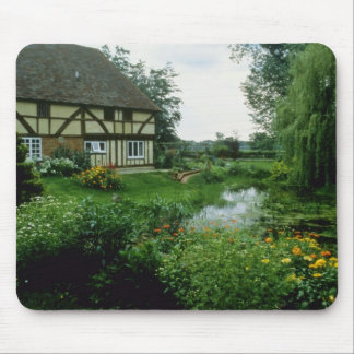 Red View Of 15th Century House With Marigolds Ach Mousepad
