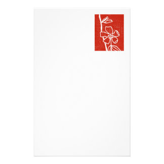 """Red Vinca"" Floral Stationery"