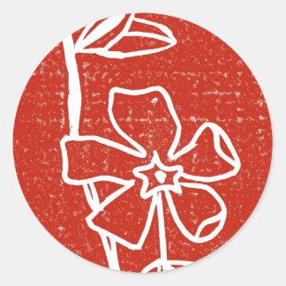 """Red Vinca"" Floral Sticker"