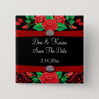 Red Vine Roses On Black Date Saver Button