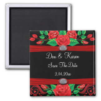 Red Vine Roses On Black Save The Date 2 Inch Square Magnet