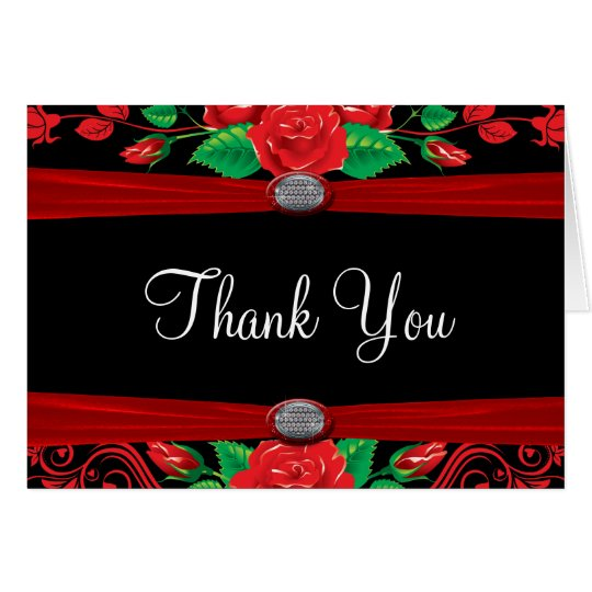 Red Vine Roses On Black Thank You Card