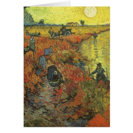 Red Vineyard by van Gogh Vintage Impressionism Art Greeting Card