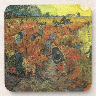 Red Vineyard by van Gogh Vintage Impressionism Art Drink Coasters