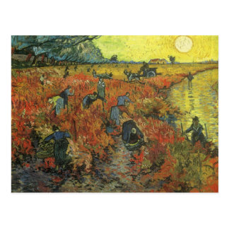Red Vineyard by van Gogh Vintage Impressionism Art Postcard
