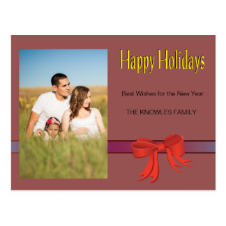 Red Vino Trendy Holiday Wishes Postcard