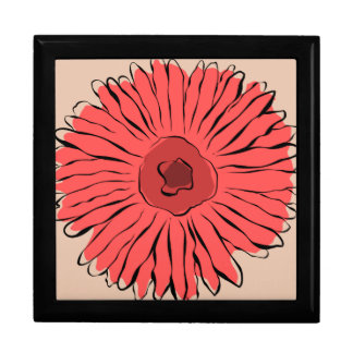 Red vintage abstract girly sunflower gift box