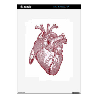 Red Vintage Anatomical Heart Decals For iPad 2
