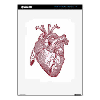 Red Vintage Anatomical Heart Decals For iPad 3