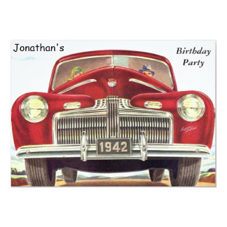 Red Vintage Auto Birthday Party 5x7 Paper Invitation Card
