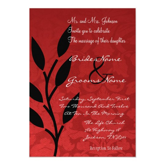 Red Vintage Background Wedding Invites