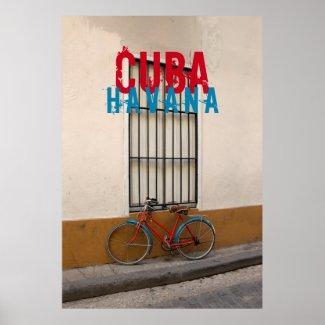 Red vintage bike Havana Cuba Poster