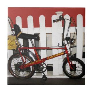 Red vintage bike  retro 1970s chopper tile