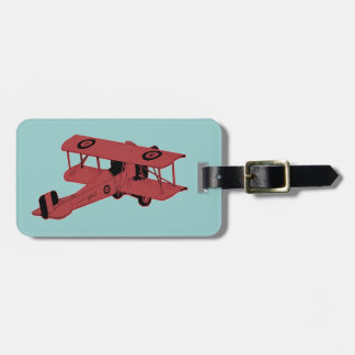 red vintage biplane bag tag