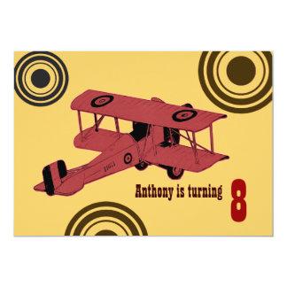 "red vintage biplane boy's birthday invite 5"" x 7"" invitation card"