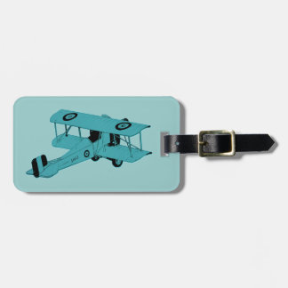 red vintage biplane luggage tag
