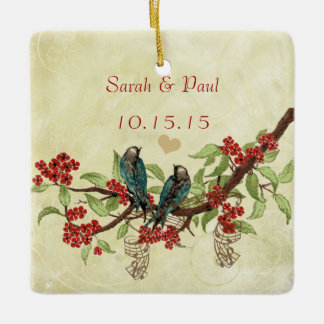 Red Vintage Bird Save the Date Damask Brown Notes Ceramic Ornament