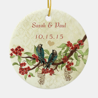 Red Vintage Bird Save the Date Photo Brown Notes Ceramic Ornament