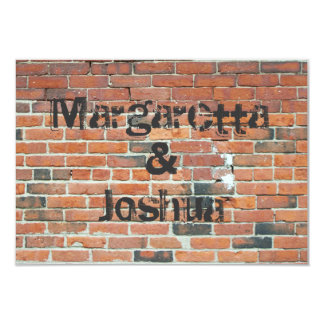 Red Vintage Brick Wall Wedding Invitation RSVP