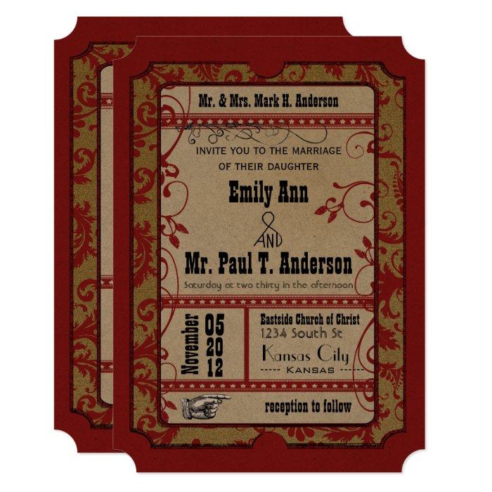 red vintage broadway poster movie ticket wedding card zazzle