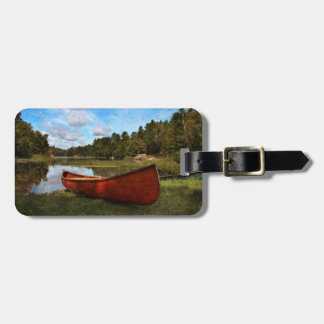 Red vintage canoe tag for luggage