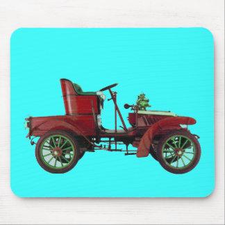 RED VINTAGE CAR,CLASSIC AUTOMOTIVE Bright Blue Mouse Pad