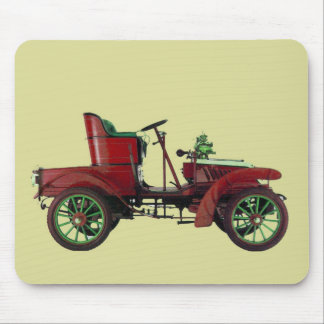 RED VINTAGE CAR,CLASSIC AUTOMOTIVE, Red Cream Mouse Pad