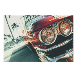 red vintage car on south beach poster