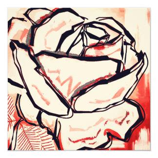 Red Vintage Card Rose Pop Art Painting