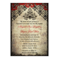 Red Vintage Chandelier Wedding Invitation
