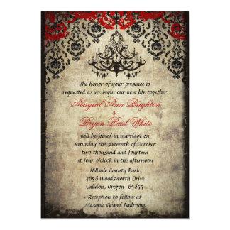 Red Vintage Chandelier Wedding Invitation