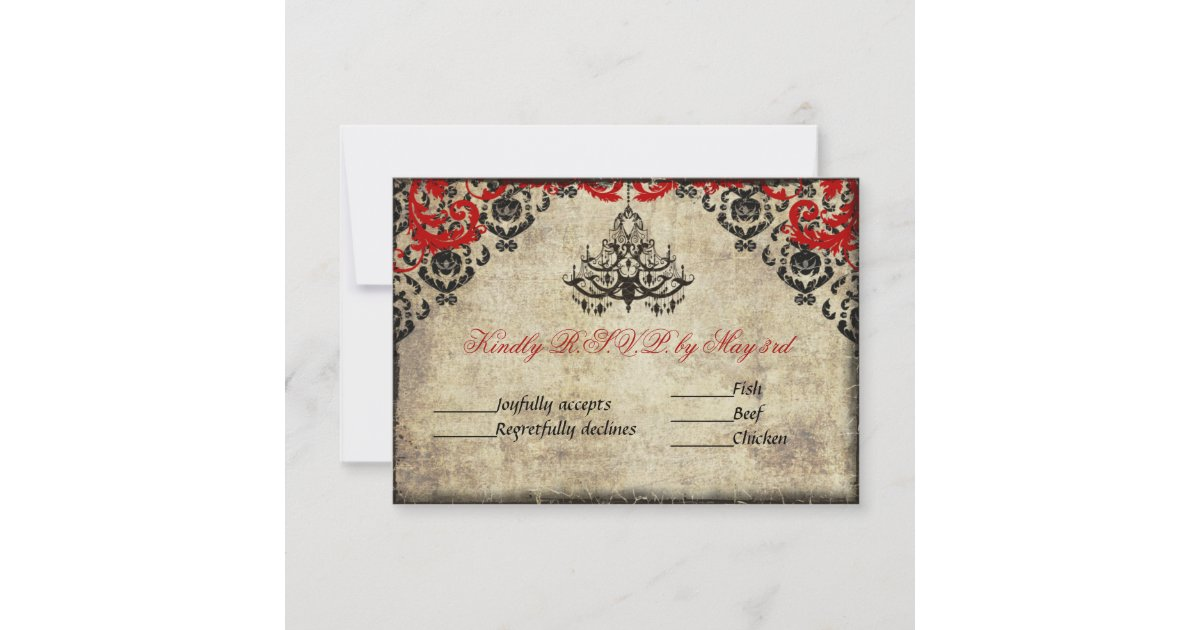 Chandelier Wedding Invitations: Red Vintage Chandelier Wedding Invitation RSVP
