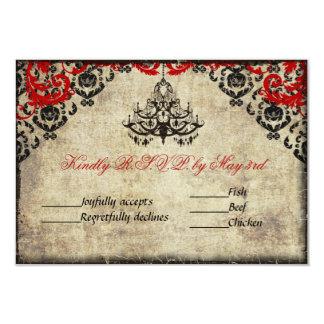 Red Vintage Chandelier Wedding Invitation RSVP