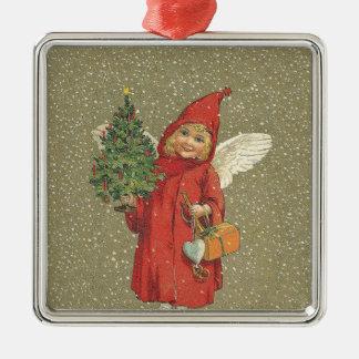 Red Vintage Christmas Angel Tree Metal Ornament