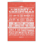 Red Vintage Christmas & New Year 2015 Holiday Greeting Card
