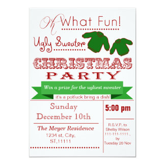 Red vintage Christmas Ugly sweater Party Invites