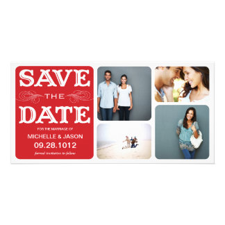 RED VINTAGE COLLAGE | SAVE THE DATE ANNOUNCEMENT CUSTOM PHOTO CARD
