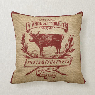 Red Vintage Cow Deli Advertisment Burlap Throw Pillow