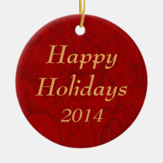 Red Vintage Custom Happy Holidays Ornaments Ornament