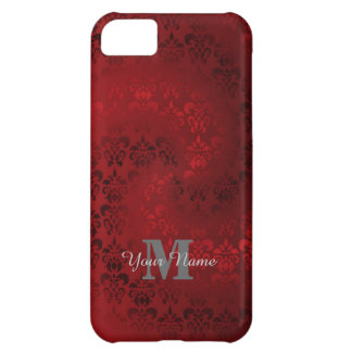 Red vintage damask monogram pattern iPhone 5C cover