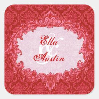 Red Vintage Damask Wedding C434 Square Sticker