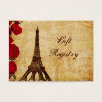 red vintage eiffel tower Paris Gift registry Business Card