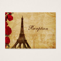red vintage eiffel tower Paris Reception cards