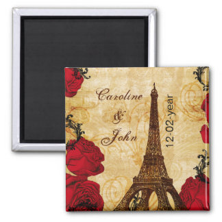 red vintage eiffel tower Paris save the date 2 Inch Square Magnet