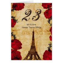 red vintage eiffel tower Paris Table Numbers Card