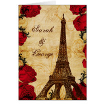 red vintage eiffel tower Paris thank you Card