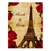 red vintage eiffel tower Paris thank you Postcard