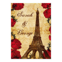 red vintage eiffel tower Paris wedding invite