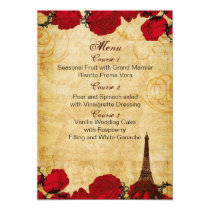 red vintage eiffel tower Paris wedding menu cards