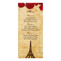 red vintage eiffel tower Paris wedding menu cards